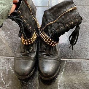 Steve Madden gold stud combat boots